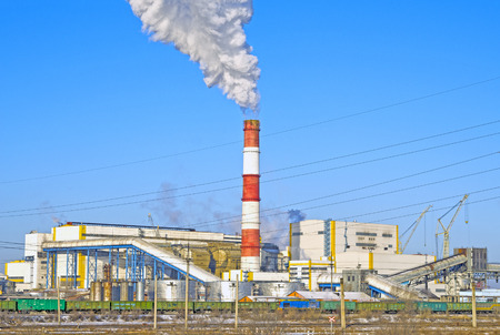 Thermal power plant. Close-up. Winter. Russia. Abakan. Banco de Imagens