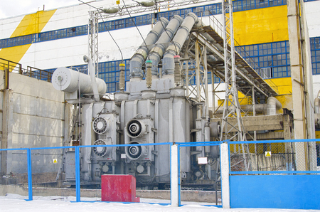 Territory heat and power station. High-voltage industrial equipment. Russia. Banco de Imagens
