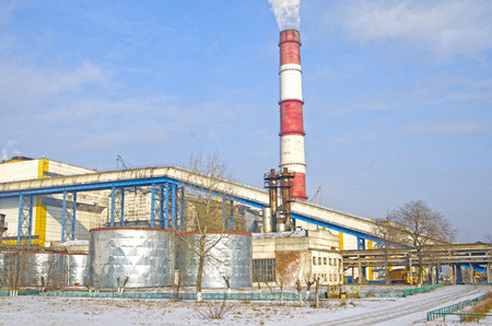 factory pipe. Electrical industry. Territory of heat and power station.