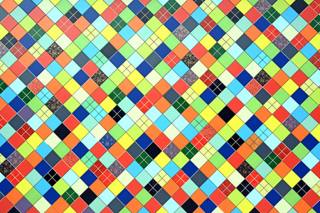 The original background created from multicolored tiles. Mosaic.