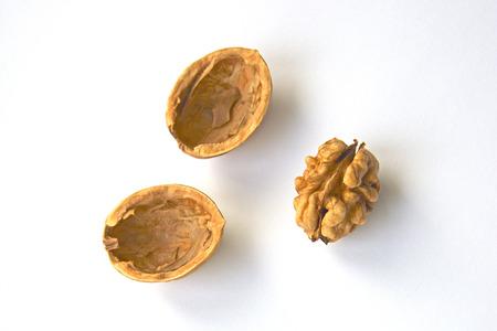 Shelled walnut on white background