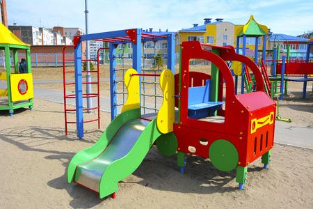 Childrens playground. provincial town. Russia Banco de Imagens