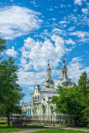 A beautiful old building of the Russian Orthodox Church against the blue sky. Summer landscape Stock fotó