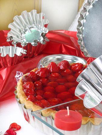 Piece of a very tasty Strawberry cake  Stock Photo