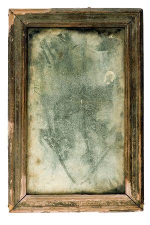 antiquarian: Ancient dusty mirror in an antiquarian wooden framework
