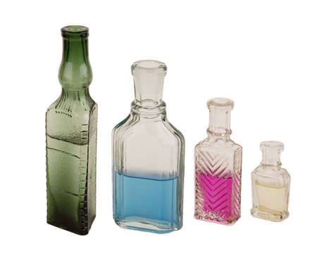 perfumery: Ancient glass bottles for perfumery. Were used in the beginning of the last century Stock Photo