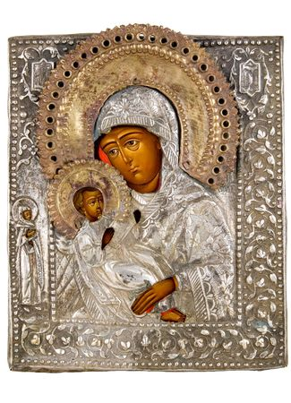Ancient church icon. One of attributes of religion.     Stock Photo