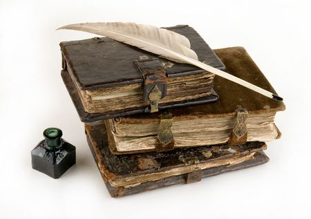broadside: The ancient books on a light background     Stock Photo