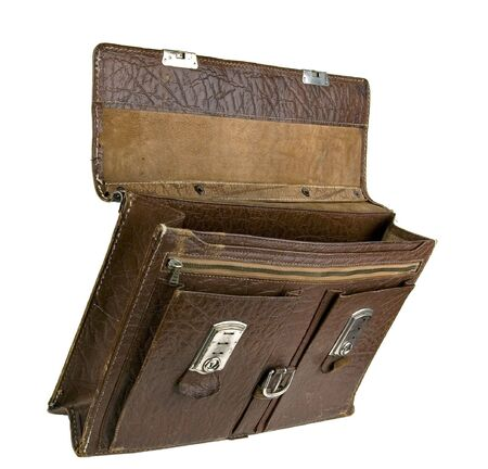 The old torn portfolio. It was used for transportation of documents
