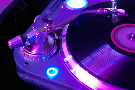 The musical equipment which is used in night clubs and discos Stock Photo