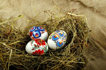 The painted eggs is a symbol of a religious holiday of Easter Stock Photo - 2713144