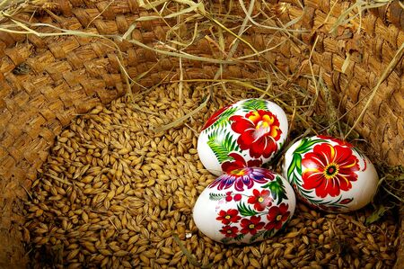 The painted eggs is a symbol of a religious holiday of Easter photo