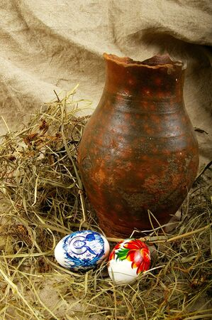 The painted eggs is a symbol of a religious holiday of Easter Stock Photo - 2713147