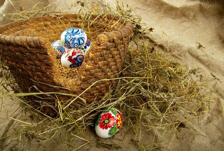 The painted eggs is a symbol of a religious holiday of Easter Stock Photo - 2713142
