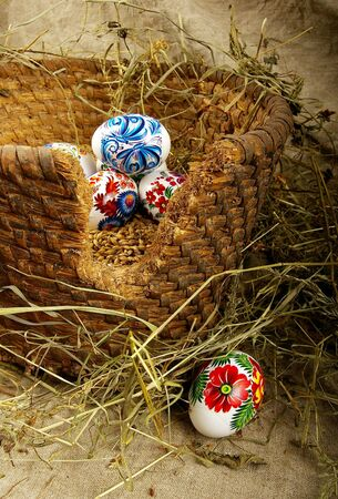 The painted eggs is a symbol of a religious holiday of Easter Stock Photo - 2713138