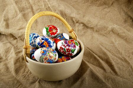 The painted eggs is a symbol of a religious holiday of Easter Stock Photo - 2713146