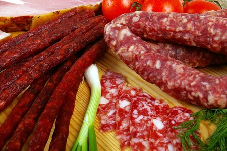 epicure: Meat and sausage products - very popular meal at many people Stock Photo