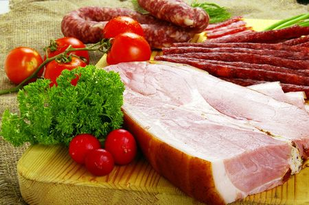 Meat and sausage products - very popular meal at many people Stock Photo