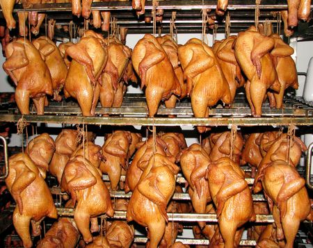Chickens smoked - very tasty meal. Appetizing taste and a smell Stock Photo