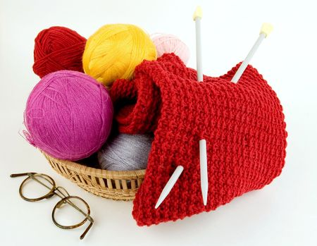 Yarn for knitting. Knitting at many people is a hobby Stock Photo