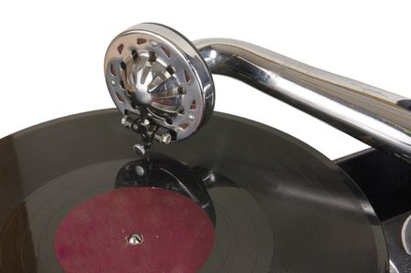 which: Ancient vinylic plate. Many people danced under the music which has been written down on such plates Stock Photo