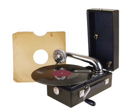 An old record player with vinyl records
