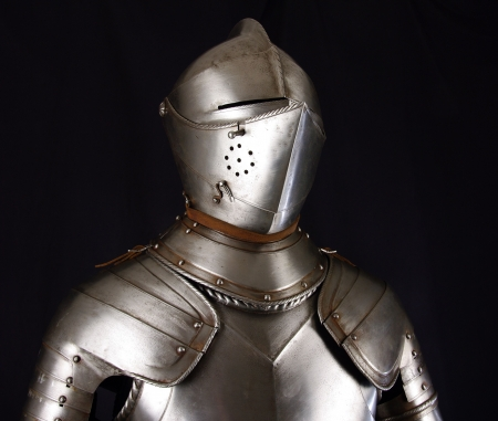 the opponent: Armour of the medieval knight. Metal protection of the soldier against the weapon of the opponent