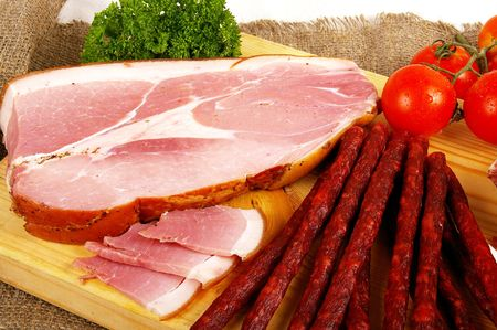 preparatory: Meat and sausage products - very popular meal at many people Stock Photo