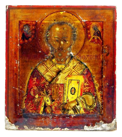 incrustation: Ancient church icon. One of attributes of religion.