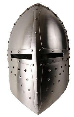 caballero medieval: El casco de hierro de caballero medieval. Tocado muy pesado Foto de archivo