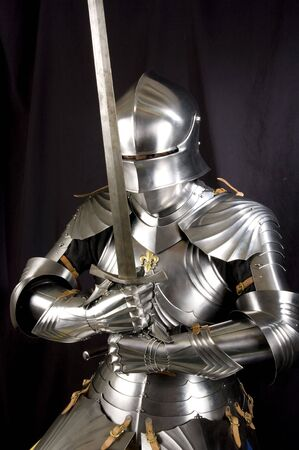 cavaleiro: Armour of the medieval knight. Metal protection of the soldier against the weapon of the opponent