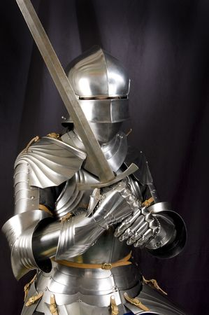 knight in armor: Armour of the medieval knight. Metal protection of the soldier against the weapon of the opponent
