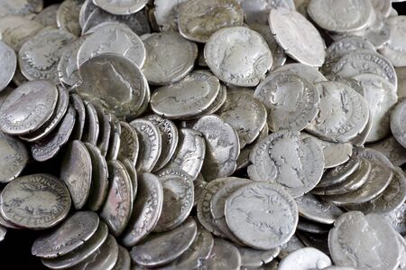 silver coins: Antique coins are made of silver. Means of payment of past centuries