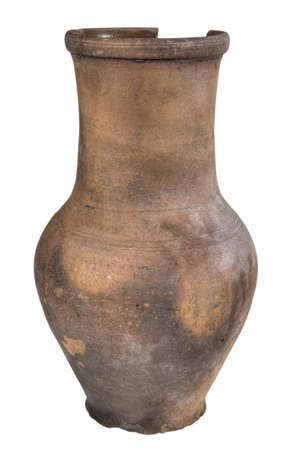 clay pot: Clay pot of manual work. It is possible to store milk or other liquid