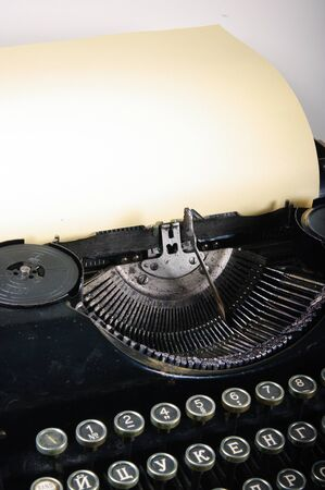 The typewriter is intended to print any texts on a paper Stock Photo - 13050840