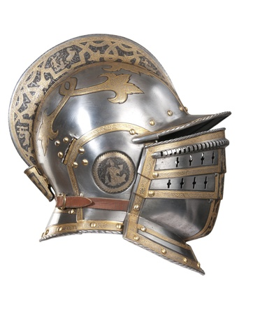 forged: Iron helmet of the medieval knight. Very heavy headdress. Stock Photo