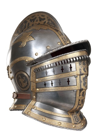 Iron helmet of the medieval knight. Very heavy headdress. Stock Photo