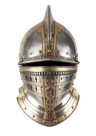 cavaliere medievale: Ferro casco del cavaliere medievale. Copricapo Molto pesante. Archivio Fotografico