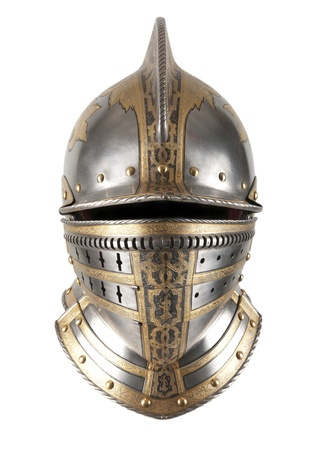 knight in armor: Iron helmet of the medieval knight. Very heavy headdress. Stock Photo