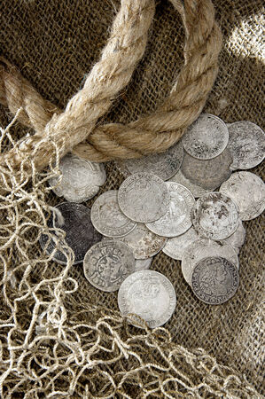 silver coins: The old silver coins. There may be collectible Stock Photo