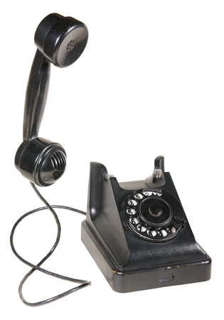 old phone: Telephone 1950 - 1960 period. Made of plastic. In many cases, the color was black