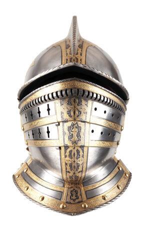 knight helmet: Iron helmet of the medieval knight
