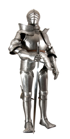 opponent: Armour of the medieval knight. Metal protection of the soldier against the weapon of the opponent