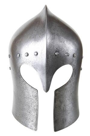 cavaliere medievale: Ferro casco del cavaliere medievale. Molto pesante copricapo.