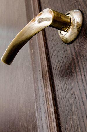 room door: Metal door handle is required for each door Stock Photo