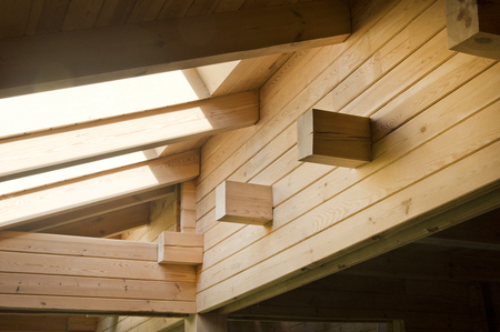 roof beam: Wooden beams - very good material for construction Stock Photo