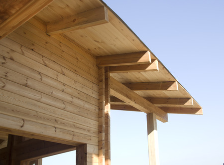 Wooden beams - very good material for construction Stockfoto