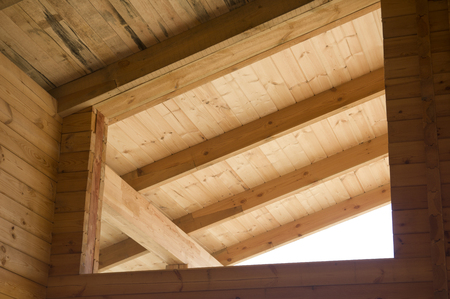 cut off saw: Wooden beams - very good material for construction Stock Photo