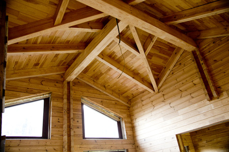 beam: Wooden beams - very good material for construction Stock Photo