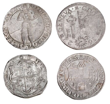 numismatics: Ancient coins of different metals – collectible Stock Photo